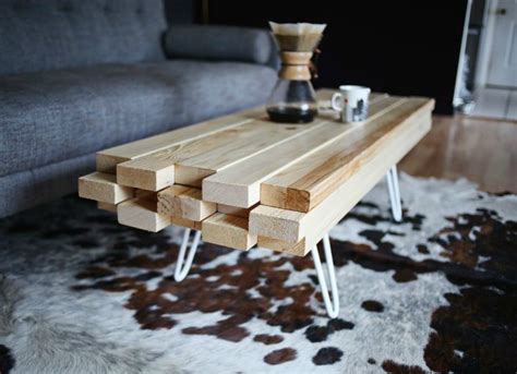 homemade coffee table made from stained wood and pipe diy coffee table 2x4 projects 8 cool diys bob vila
