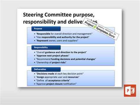 Steering Committee Educational Kit Project Templates Guru Project Steering Committee Presentation Template