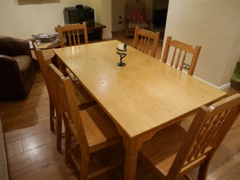 solid oak kitchen table and chairs solid oak kitchen table 6 matching chairs and matching