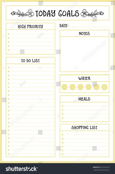 daily planner template vector clean style daily planner vector template stock vector