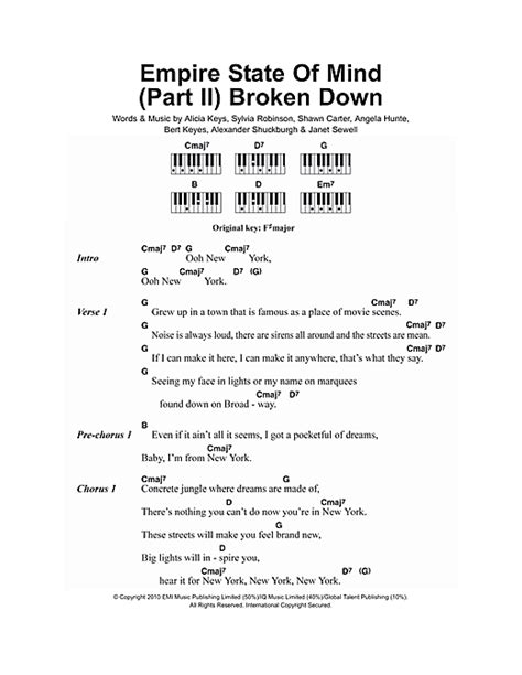 tutorial piano empire state of mind empire state of mind part ii broken down sheet music by