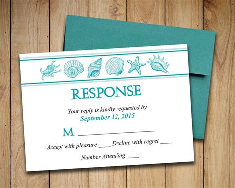 Diy Response Cards Template by Wedding Rsvp Template Seashell Response Card