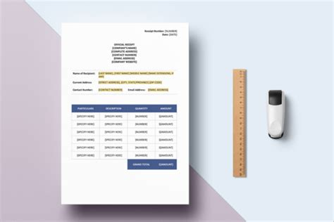 Contractor Receipt Of Payment Template