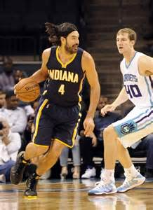 oct 23 2014 charlotte nc usa charlotte hornets c j miles luis scola lead pacers to victory over hornets