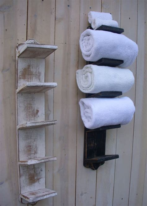 bathroom towel storage holder bath decor wood shabby