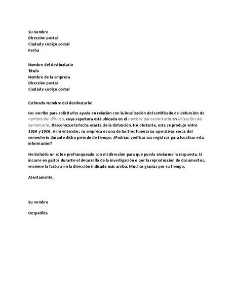 carta de funeraria cartas office com