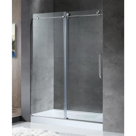 Sliding Frameless Glass Shower Doors Anzzi Madam Series 60 In By 76 In Frameless Sliding Shower Door In Brushed Nickel With Handle