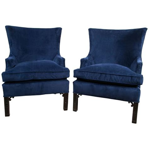 blue velvet armchair pair of blue velvet club chairs at 1stdibs