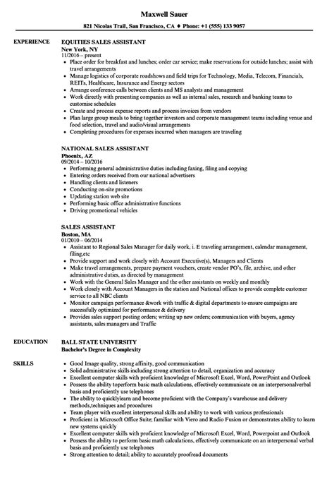 sles of assistant resumes sales assistant resume sles