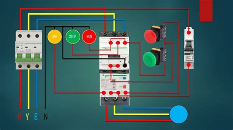 phase dol starter control overload indicator power wiring diagram youtube