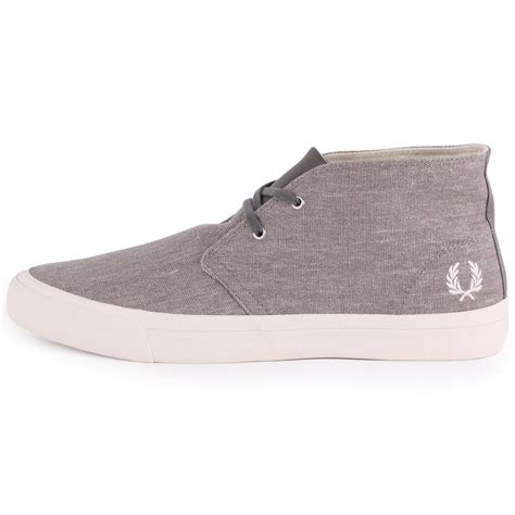 fred perry vernon mid printed mens boots in cloudburst