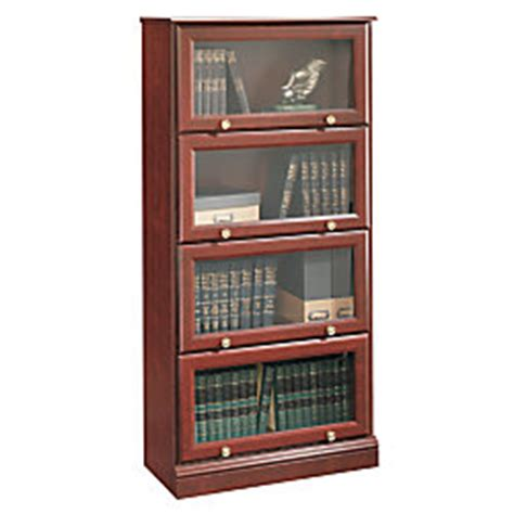 Sauder Barrister Bookcase Sauder Roanoke Barrister Bookcase 60 18 H X 28 34 W X 13 D Classic Cherry By Office Depot