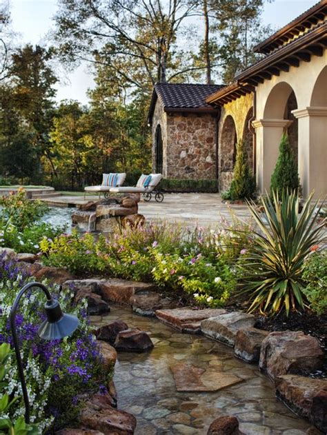 mediterranean backyard designs water streams home design ideas pictures remodel and decor