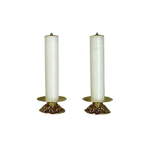 candele finte coppia di candelieri dorati con finta candela per altare