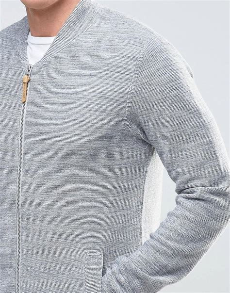 Knitted Jacket Light Gray 61468 lyst esprit knitted bomber jacket in gray for