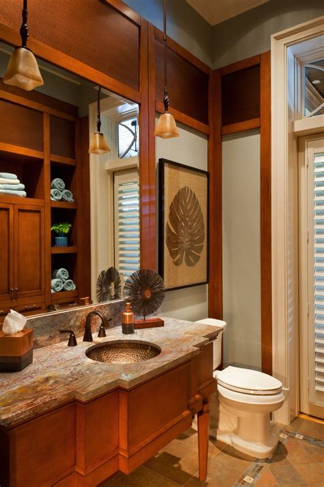 powder bathroom vanities copper vessel sinks powder room rustic with wall sconces
