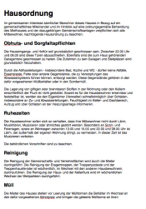 Hausordnung Muster by Hausordnung Mehrfamilienhaus Word Vorlagen Zum Downloaden