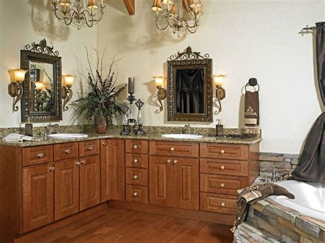 Furnitures creative man made l shaped vanity bathroom cabinet with double sink design ideas