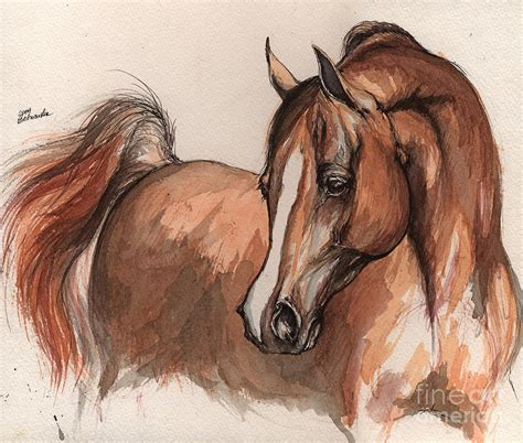 Equine Home Decor the chestnut arabian horse 6 painting by angel ciesniarska