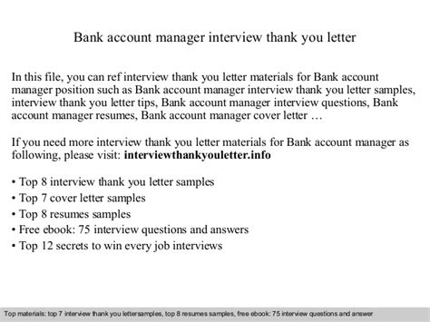 Bank Thank You Letter Sle Bank Account Manager