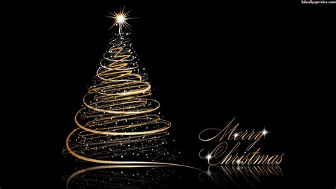 christmas tree gold and black hd wallpaper 05741