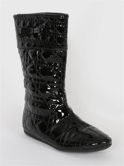 cannage black patent flat high boots 35 5 luxury bags