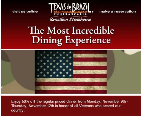 Texas De Brazil Gift Card Walgreens - veterans day freebies share this list with your favorite vet northshore mama