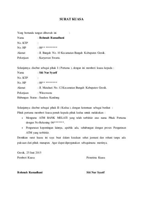 contoh surat kuasa harta bersama wisata dan info sumbar