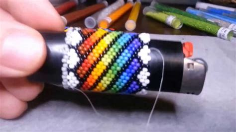 how to american bead beading lighter cover freestyle repeating design