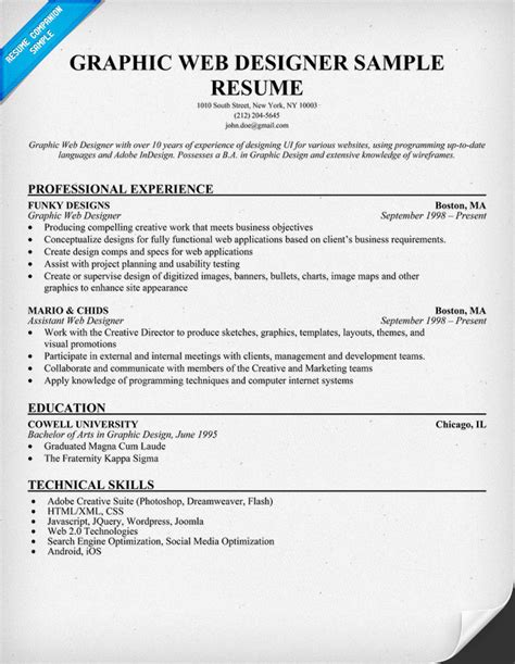 resume exles for designers graphic web designer resume sle resumecompanion