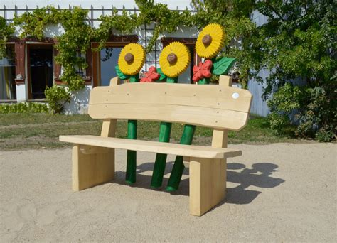 holz bank holzbank rustikal sonnenblumen ziegler spielpl 228 tze