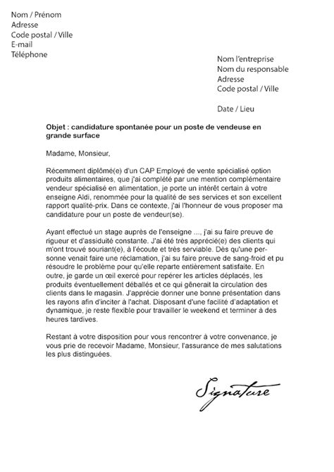 Lettre De Motivation Francais Vendeuse Lettre De Motivation Aldi Mod 232 Le De Lettre