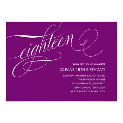 18th invitation templates modern purple 18th birthday invitations 5 quot x 7 quot invitation
