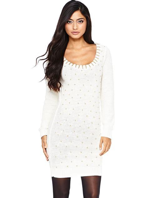 lipsy knitted dress lipsy lipsy sleeve knitted dress in beige lyst
