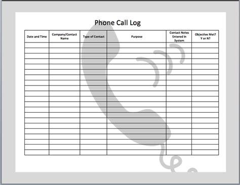Call Log Template Beepmunk Phone Call Log Template
