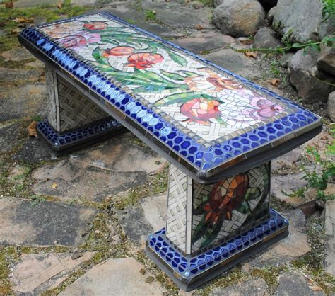 mosaic garden bench mosaic garden bench rose pomegranate beads pieces