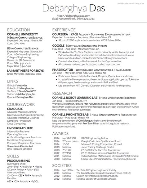 resume latex template out of darkness