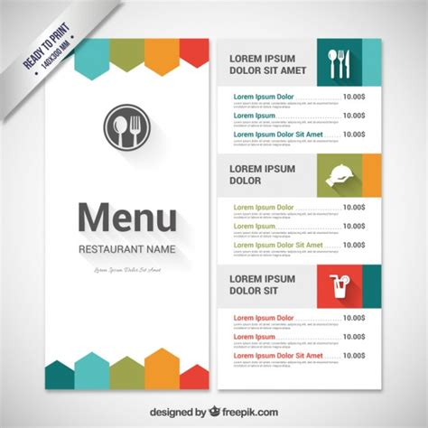 design online menu colorful menu template vector free download