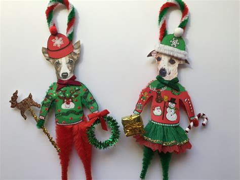 whippet christmas ornaments ugly sweater dog by