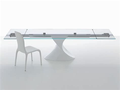 glas esszimmertisch basen tisch mit glasplatte skulpturale basis ausziehbar