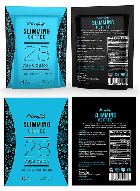 Label Detox Tea Coffee Beverages slimming coffee label template