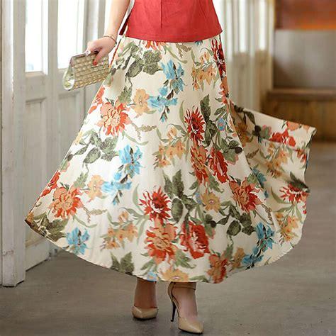 Big Skirt new fashion ethnic skirt summer big swing skirts bohemian style linen skirts ankle