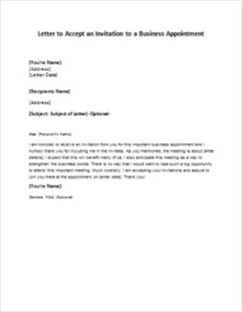 Acceptance Letter Sle To An Invitation Letter To Accept An Invitation To A Business Appointment Writeletter2