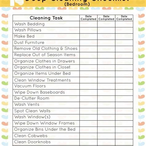 printable living area deep cleaning checklist mom it printable deep cleaning bedroom checklist mom it