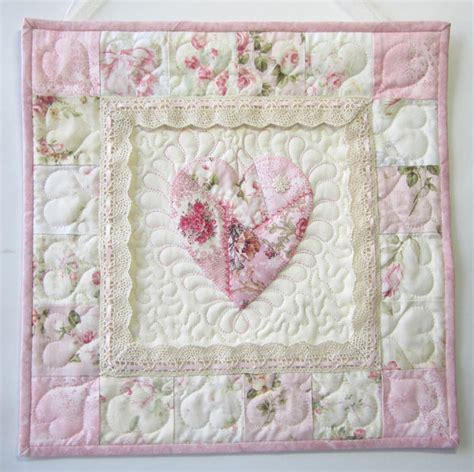 shabby cottage chic wall quilt heart applique wall quilt