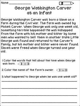 biography of george washington carver pdf george washington carver reading passages by dana s