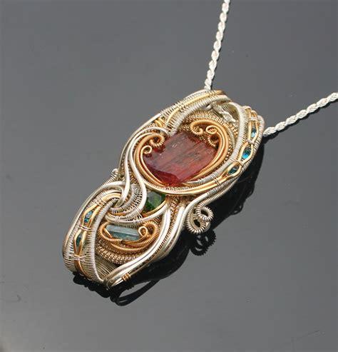wrap jewelry handmade heady wire wrap jewelry silver and gold rubellite