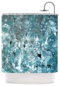 Teal Shower Curtains Carollynn Tice Quot Shuffling Quot Teal Blue Shower Curtain Contemporary Shower Curtains By Kess