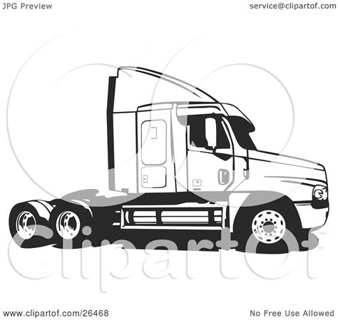 clipart illustration of a big rig truck without the cargo