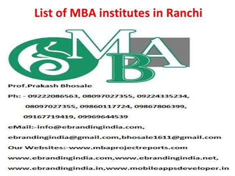 Of Ta Mba by List Of Mba Institutes In Ranchi